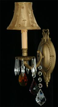Crystal chandelier - Chandelier Antique Brass-color crystal