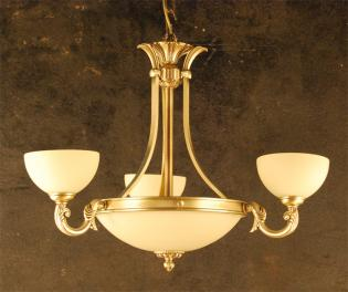 CHANDELIER BRASS AND GLASS - ANTIQUE BRASS CREAM  GLASS