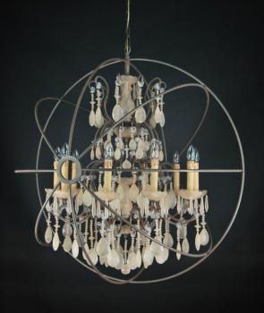 Chandelier style rustic - RUST BROWN SAND CRYSTAL